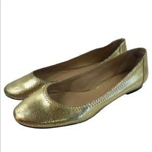 Nordstrom BP Gold Crackle Flats Shoes Sz 8 EUC